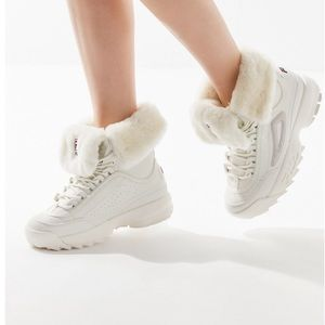 New UO Fila White Disruptor Winter Shearling Boots
